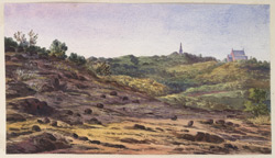 'Mahableshwar. Church and Beckwith Monument. Sketch from a point off the road near the Lake. 23rd November 1871'.